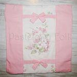 dom-poszewka na poduszkę 03 -40x40 cm bawełniana na zamek pastelowa shabby retro dziewczynki kwiatki ecru róż różowe wiązane kokardki-00 miniatura