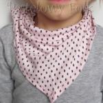 dziecko-chusteczka dla dziewczynki 06-chustka na głowę pod szyję retro dzianinowa różowa brązowe kropki kropeczki falbanka-02 LLEGRO