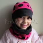 dziecko-czapka 101-dzianinowa rozowa w grochy, grafitowa, fuksja, komplet komin-01