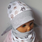dziecko-czapka 115- szara biala w brazowe i szare sloniki, dzianinowa niemowleca slonie -01