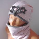 dziecko-czapka 124- rozowa w biale kropki kwiatki szary polar zimowa, komplet komin -01