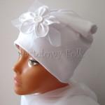 dziecko-czapka 133- biala do chrztu, roczek, chrzest kwiat koronka tiul perelka retro-01