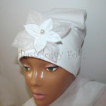 dziecko-czapka 135- biala do chrztu, roczek, chrzest kwiat koronka tiul perelka retro-01