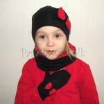 dziecko-czapka 137- czarna z czerwona kokarda kokardka komin rekawiczki-04