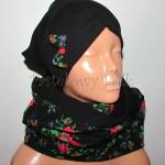 dziecko-czapka 139- czarna z kokarda tybet goralska retro komin -05