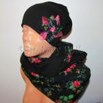 dziecko-czapka 140- czarna z kwiatem tybet goralska retro w roze rozowy komin -01