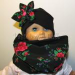 dziecko-czapka 141- czarna z kwiatem tybet goralska retro w roze rozowy komin -01