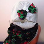 dziecko-czapka 142- szara z kokarda, tybet czarny w rozyczki, goralska w roze komin -01