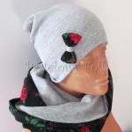 dziecko-czapka 143- szara z kokarda, tybet czarny w rozyczki, goralska w roze komin -03
