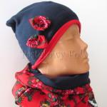 dziecko-czapka 147- granatowa polar z czerwona kokarda, tybet w rozyczki, goralska w roze komin duzy damski-03