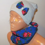 dziecko-czapka 149- szara dzianinowa z niebieska kokarda, tybet w rozyczki, goralska w roze komin duzy damski-01