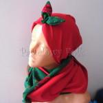 dziecko-czapka 150- czerwona dzianinowa z zielona kokarda retro, tybet w rozyczki, goralska w roze komin duzy damski-04