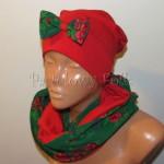 dziecko-czapka 151- czerwona dzianinowa z zielona kokarda, tybet w rozyczki, goralska w roze komin duzy damski-04