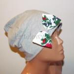 dziecko-czapka 153- szara dzianinowa z biala kokarda, tybet w rozyczki, goralska w roze komin duzy damski-01