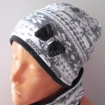 dziecko-czapka 159- biala szara dzianinowa wzor norweski z grafitowa kokardka, damski-01