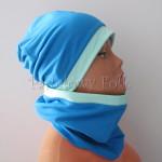 dziecko-czapka 160- dzianinowa mietowa turkusowa niebieska chlopiec wiosenna jesienna komin-02