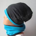 dziecko-czapka 161- dzianinowa grafitowa turkusowa niebieska chlopiec wiosenna jesienna komin-02