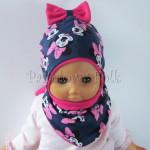 dziecko-czapka-193-granatowa-z-myszka-minnie-i-ciemnorozowa-kokarda-na-czubkufuksja-niemowleca-profilowana-z-troczkami-wiazana-dwuwarstwowa-komplet-chustka-04