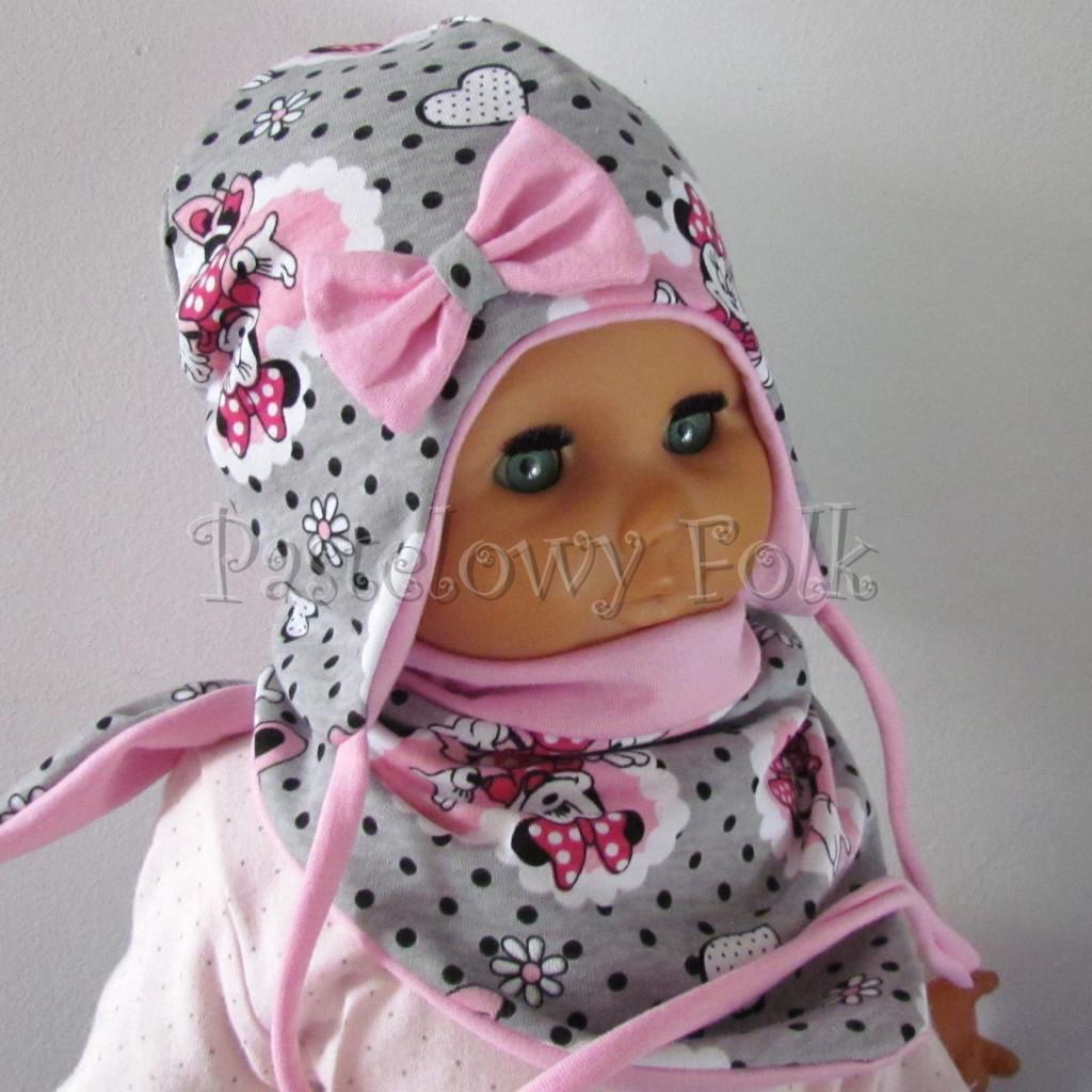 dziecko-czapka-197-szara-w-czarne-kropki-z-myszka-minnie-w-rozowym-sercu-roz-z-kokarda-niemowleca-profilowana-z-troczkami-wiazana-dwuwarstwowa-chustka-02