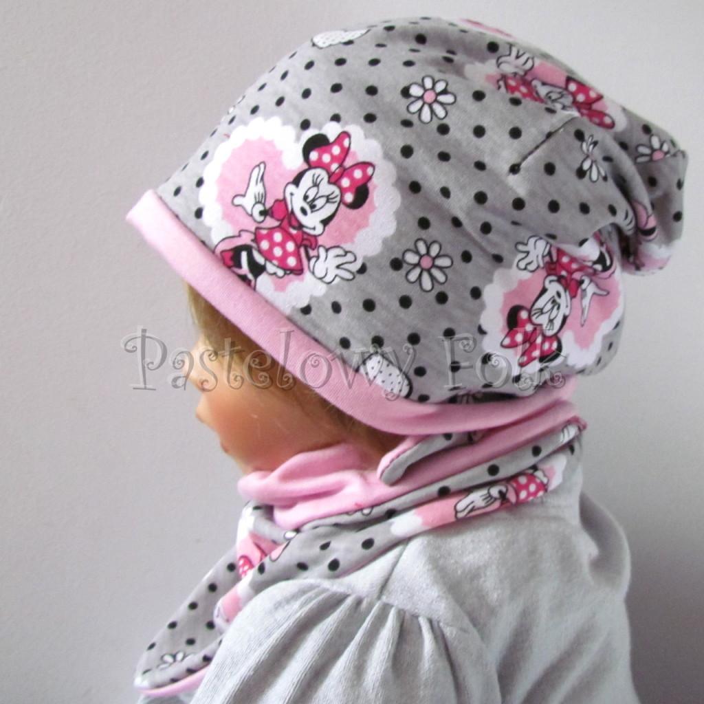 dziecko-czapka-198-szara-w-czarne-kropki-z-myszka-minnie-w-rozowym-sercu-roz-dwustronna-chustka-04