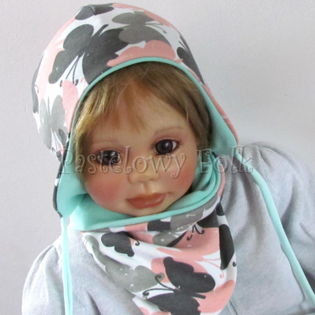 dziecko-czapka-218-biala-w-szare-rozowe-motyle-mietowa-dwustronna-niemowle-jesienna-chustka-02