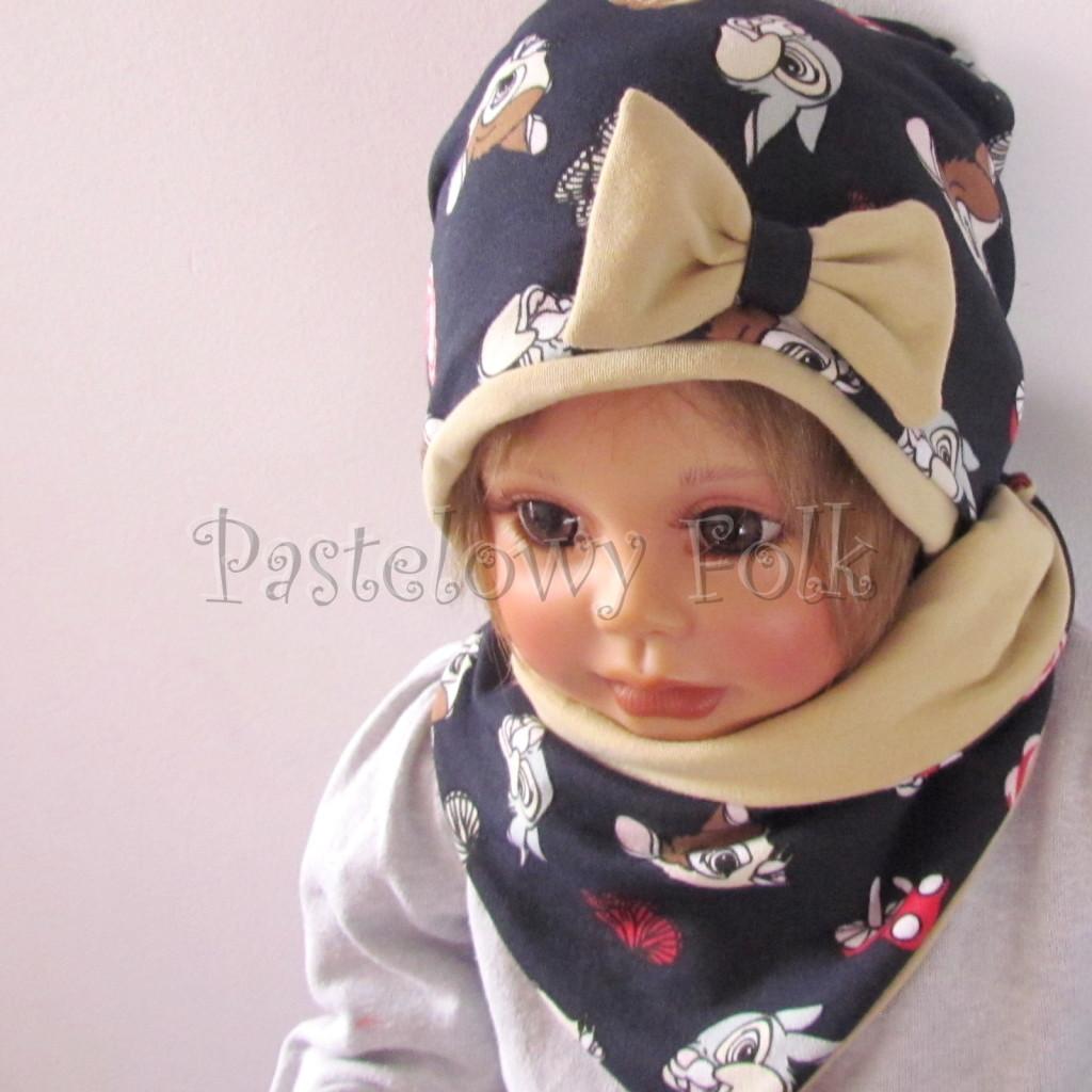 dziecko-czapka-220-granatowa-w-sarenki-bambi-zajaczek-piaskowa-bezowa-kokarda-jesienna-dresowka-chustka-dwustronna-02