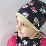 dziecko-czapka-221-granatowa-w-sarenki-bambi-zajaczek-piaskowa-bezowa-jesienna-dresowka-chustka-dwustronna-02