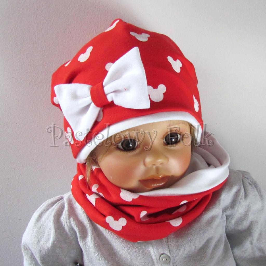 dziecko-czapka-225-czerwona-w-biale-myszki-minnie-z-biala-kokarda-dresowkajesienna-dwuwarstwowa-komin-chustka-02