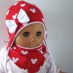 dziecko-czapka-227-czerwona-w-biale-myszki-minnie-z-biala-kokardaniemowleca-profilowana-wiazana-jesienna-dwuwarstwowa-komplet-chustka-01