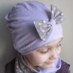 dziecko-czapka 28c- fioletowa liliowa z kokarda w groszki, dzianinowa dla dziewczynki -03