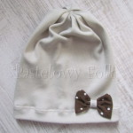 dziecko-czapka 32-beanie dzianinowa dla dziewczynki, piaskowa beżowa szara z brązowa kokardka w kropki-01
