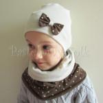 dziecko-czapka 32-beanie dzianinowa dla dziewczynki, piaskowa beżowa szara z brązowa kokardka w kropki-06