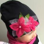dziecko-czapka 37- czarna różowe kwiaty tiul fuksja, dzianina, dziewczynka komin komplet _04
