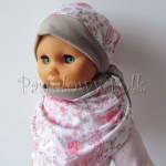 dziecko-czapka 47- bezowa, biala z tureckim pastelowym rozowym wzorem, komplet chusteczka -01