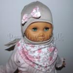 dziecko-czapka 47b- bezowa, z biala kokardka z tureckim pastelowym rozowym wzorem, komplet chusteczka -01