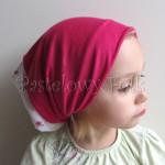 dziecko-czapka 62- biala w rozyczki,rozowy malinowy komin, komplet chusteczka -05