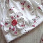 dziecko-czapka 63 -komin opaska komplet wrzosowy róż z białą kokardą w różyczki dzianina, dziewczynka_11