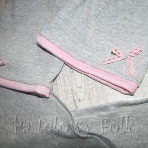 dziecko-czapka 64-komin chustka komplet dzianinowy dla dziewczynki, szary różowy koronka kokardka-03