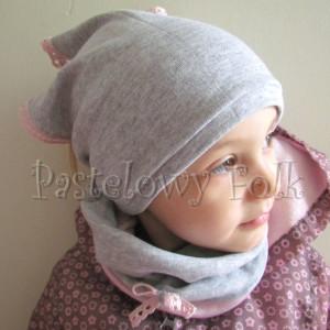 dziecko-czapka 64-komin chustka komplet dzianinowy dla dziewczynki, szary różowy koronka kokardka-05