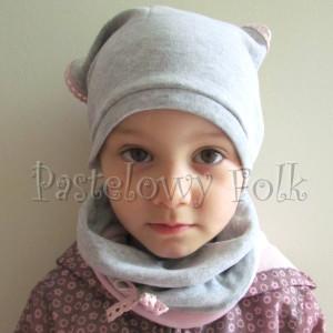 dziecko-czapka 64-komin chustka komplet dzianinowy dla dziewczynki, szary różowy koronka kokardka-06
