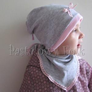 dziecko-czapka 64-komin chustka komplet dzianinowy dla dziewczynki, szary różowy koronka kokardka-07