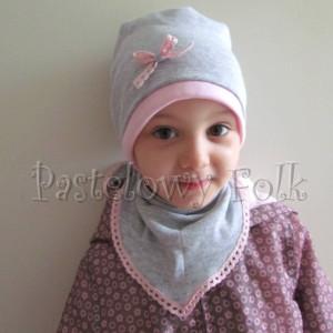 dziecko-czapka 64-komin chustka komplet dzianinowy dla dziewczynki, szary różowy koronka kokardka-08