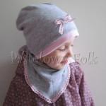 dziecko-czapka 64-komin chustka komplet dzianinowy dla dziewczynki, szary różowy koronka kokardka-09