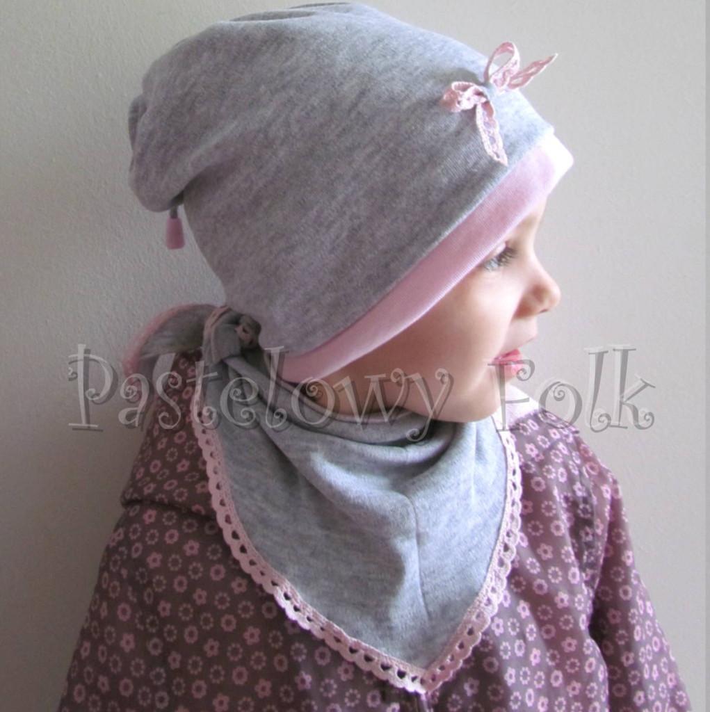 dziecko-czapka 64-komin chustka komplet dzianinowy dla dziewczynki, szary różowy koronka kokardka-10