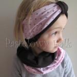 dziecko-czapka 66e-opaska dwustronna dzianinowa dziecieca różowa a w serduszka, brązowa, komplet komin-05