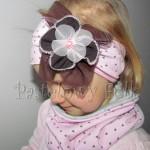 dziecko-czapka 66g-opaska dzianinowa dziecieca różowa a w serduszka, z retro kwiatem brazowy, komplet komin-02