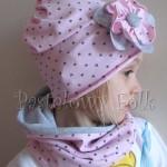 dziecko-czapka 67- komin opaska komplet, szara, różowa w serduszka brązowe kwiat retro-08