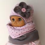 dziecko-czapka 67c- szara, różowa w serduszka brązowe kwiat, polar komin komplet-02