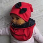 dziecko-czapka 69- komin komplet,dzianinowa dziecieca czerwona granatowa wiosenna dziewczęca kokardka-02