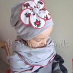 dziecko-czapka 70- komin komplet,dzianinowa dziecieca szara, z folkowym kwiatem czerwony biały góralski-02